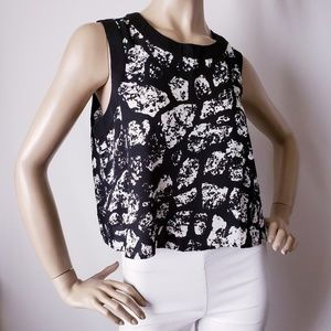 Bar III Black & White Printed Blouse Size Large